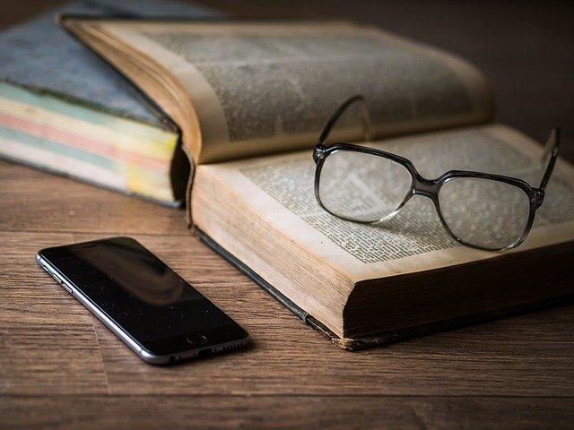 glasses, book, phone